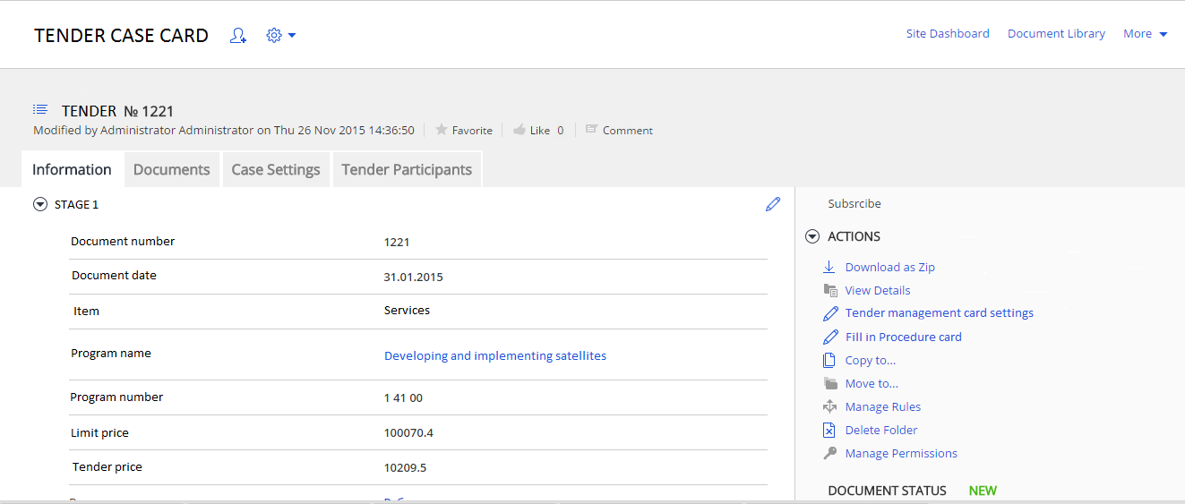 Tender management on Alfresco platform